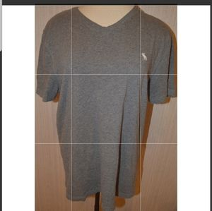 Abercrombie & Fitch Gray Short Sleeve V-Neck Tee L